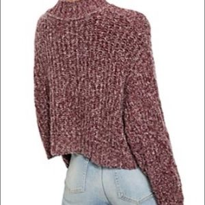 Free people pink knit mock neck sweater size small